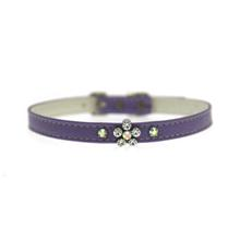 Crystal Flower Charm Dog Collar - Lavender