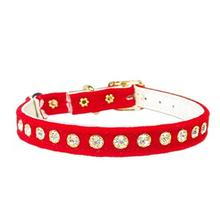 Crystal Velvet Cat Band Collar - Red