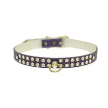 Deluxe 2-Row Clear Crystal Dog Collar - Purple