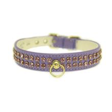 Deluxe 2-Row Lavender Crystal Dog Collar - Lavender