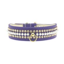 Deluxe Crystal and Pearl Dog Collar - Purple