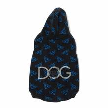 Diamond Repeat Dog Hoodie by Dogs of Glamour - Black