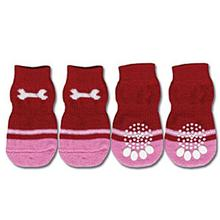 Doggy Socks - Dog Bone Red / Pink