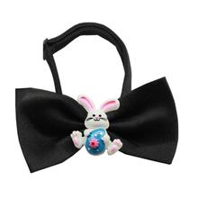 Easter Bunny Chipper Dog Bow Tie - Black