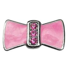Enamel Bow Slider Dog Collar Charm - Pink