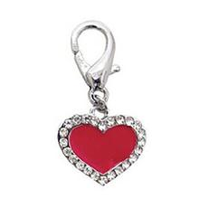 Enamel Heart D-Ring Pet Collar Charm by FouFou Dog - Red