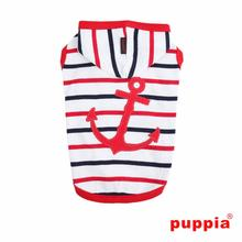 EOS Nautical Sleeveless Dog Hoodie by Puppia - Red