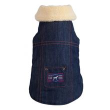 Fab Dog Denim Shearling Dog Jacket - Navy
