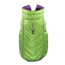 Featherlite Reversible-Reflective Puffer Dog Vest by Hip Doggie - Green/Purple