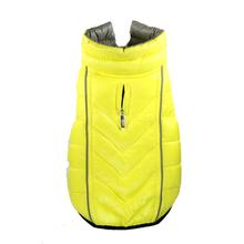 Featherlite Reversible-Reflective Puffer Dog Vest by Hig Doggie - Yellow/Gray