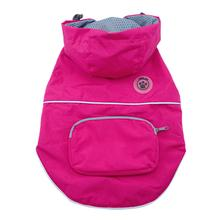 FouFouDog Rainy Day Dog Poncho with Built-in Travel Pouch - Pink