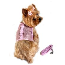 Gingham Cool Mesh Dog Harness by Doggie Design - Pink