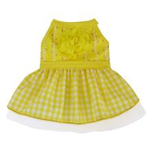 Gingham Floral Dog Dress - Yellow