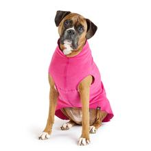 Gold Paw Fleece Dog Jacket - Fuchsia