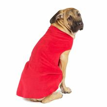 Gold Paw Fleece Dog Jacket - Red
