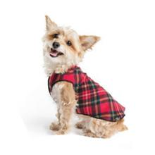 Gold Paws Reversible Double Fleece Jacket - Red Tartan/Black