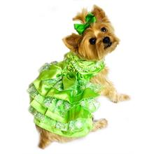 Green, White and Gold Organza Dog Dress