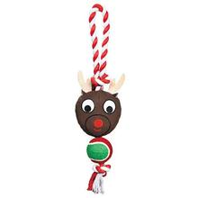 Grriggles Holiday Rope Tennis Tug Dog Toy - Reindeer