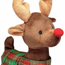 Grriggles Radiant Tartan Reindeer Dog Toy - Dark Brown