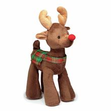 Grriggles Radiant Tartan Reindeer Dog Toy - Dark Brown