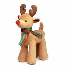 Grriggles Radiant Tartan Reindeer Dog Toy - Light Brown