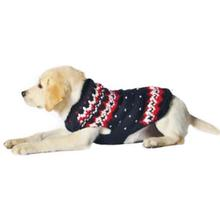 Handmade Alpine Fair Isle Wool Dog Sweater - Navy