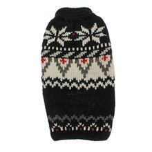 Handmade Aspen Fair Isle Wool Dog Sweater - Black