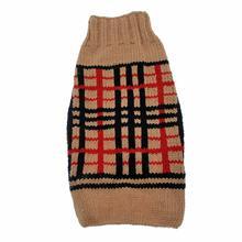 Handmade Wool Plaid Dog Sweater - Tan
