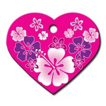 Hawaiian Heart Large Engraveable Pet I.D. Tag - Pink