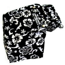 Hawaiian Print Dog Board Shorts - Black
