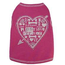 Heart Love Collage Dog Tank - Pink