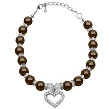 Heart and Pearl Dog Necklace - Chocolate