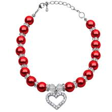 Heart and Pearl Dog Necklace - Red
