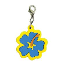 Hibiscus Soft Rubber Dog Collar Charm - Blue/Yellow