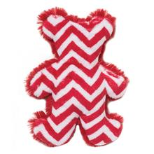 Holiday Bear Dog Toy by West Paw - Red Chevron