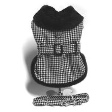 Houndstooth Fur-Trimmed Dog Harness Coat