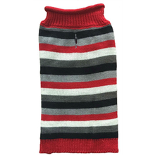 Huxley & Kent Rugby Striped Winter Dog Sweater - Red