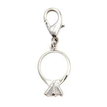 I Do D-Ring Pet Collar Charm by FouFou Dog - Clear Round Cut