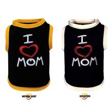 I Love Mom Reflective Dog T-Shirt by Ultra Paws - Gold Trim