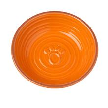 Key West Embossed Paw Pet Saucer - Orange