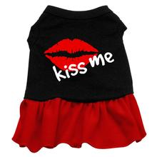 Kiss Me Dog Dress - Black with Red Skirt