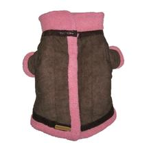 Kumfy Tailz Cools & Warms Winter Dog Coat - Brown with Pink