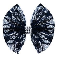 Lace and Crystals Dog Bow - Black
