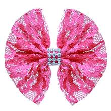 Lace and Crystals Dog Bow - Bright Pink
