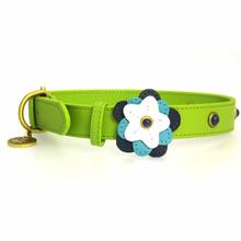 Blue Petal Leather Dog Collar - Green