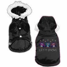 Let it Snow Penguins Rhinestone Dog Coat - Black
