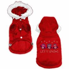 Let it Snow Penguins Rhinestone Dog Coat - Red