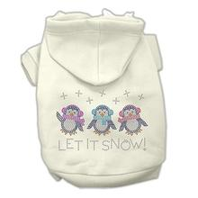 Let it Snow Penguins Rhinestone Dog Hoodie - Cream