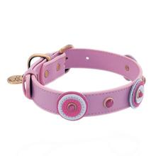 Light Pink and White Circle Leather Dog Collar by Dosha Dog