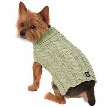 Marley's Cable Dog Sweater - Celery